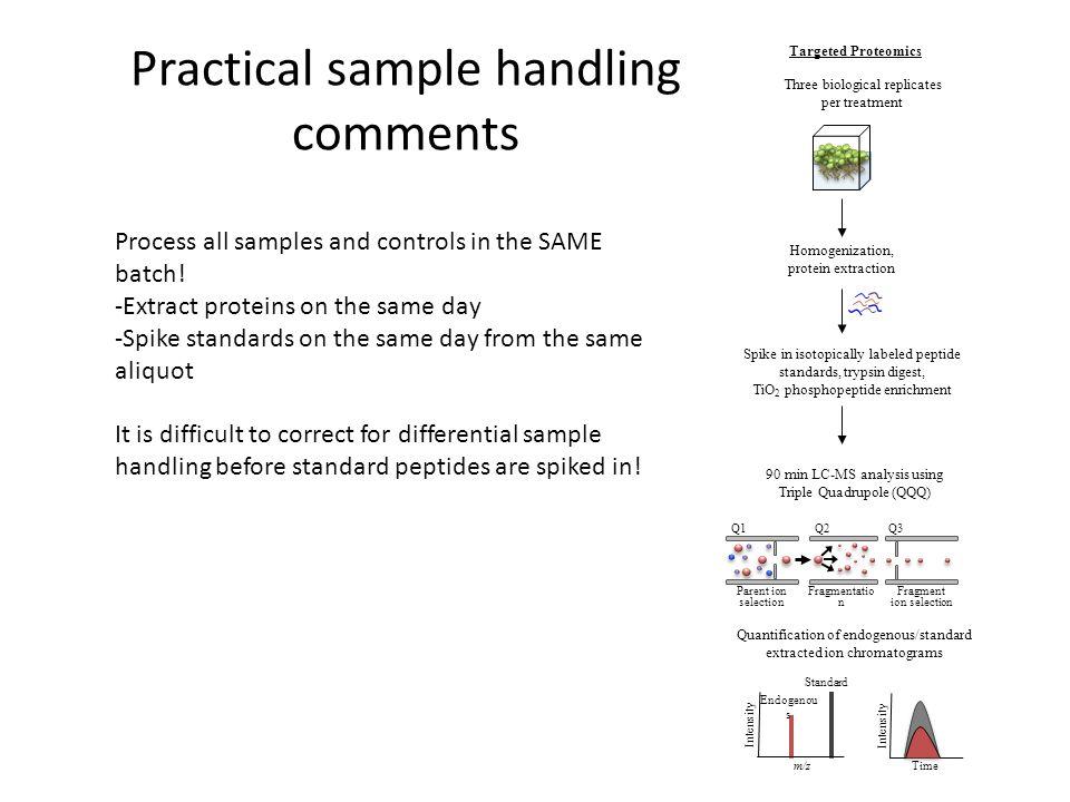Practical sample handling comments