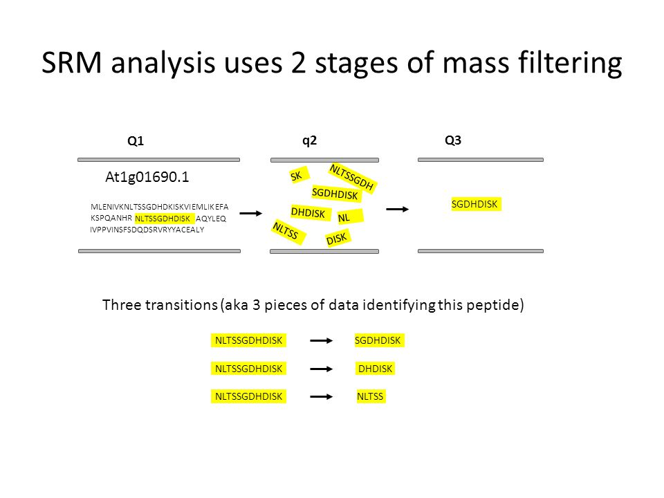 SRM analysis uses 2 stages of mass filtering