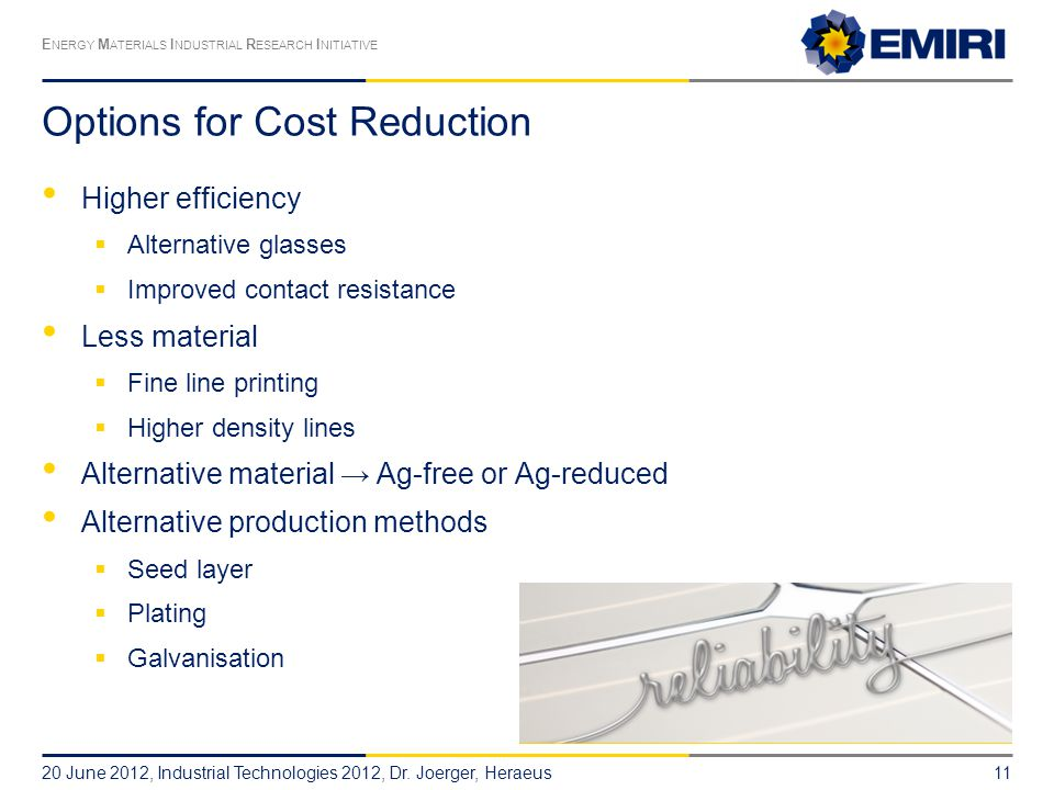 Options for Cost Reduction