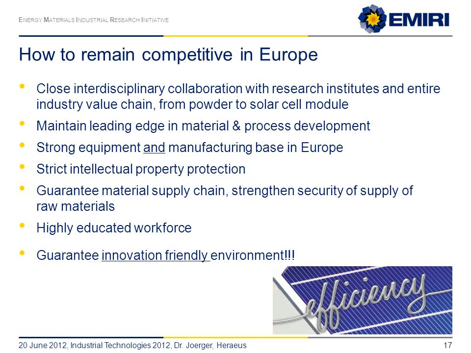 How to remain competitive in Europe