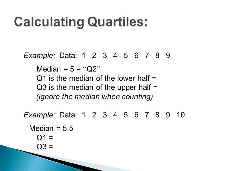 Calculating Quartiles: