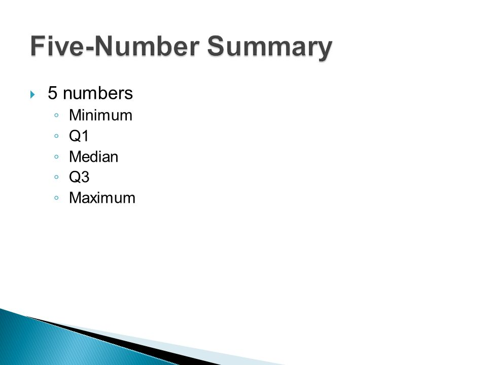 Five-Number Summary 5 numbers Minimum Q1 Median Q3 Maximum
