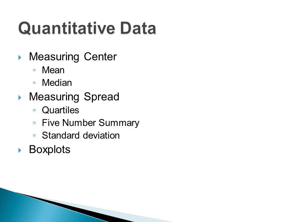 Quantitative Data Measuring Center Measuring Spread Boxplots Mean