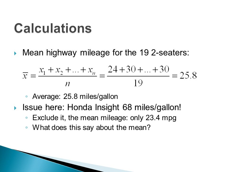 Calculations Mean highway mileage for the 19 2-seaters: