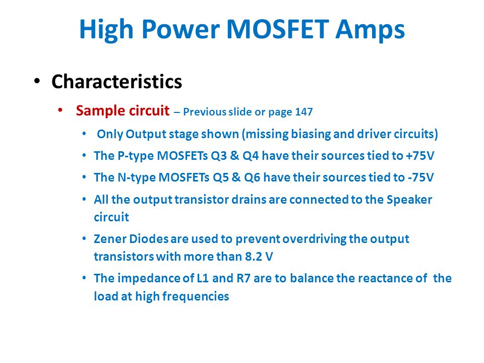 High Power MOSFET Amps Characteristics