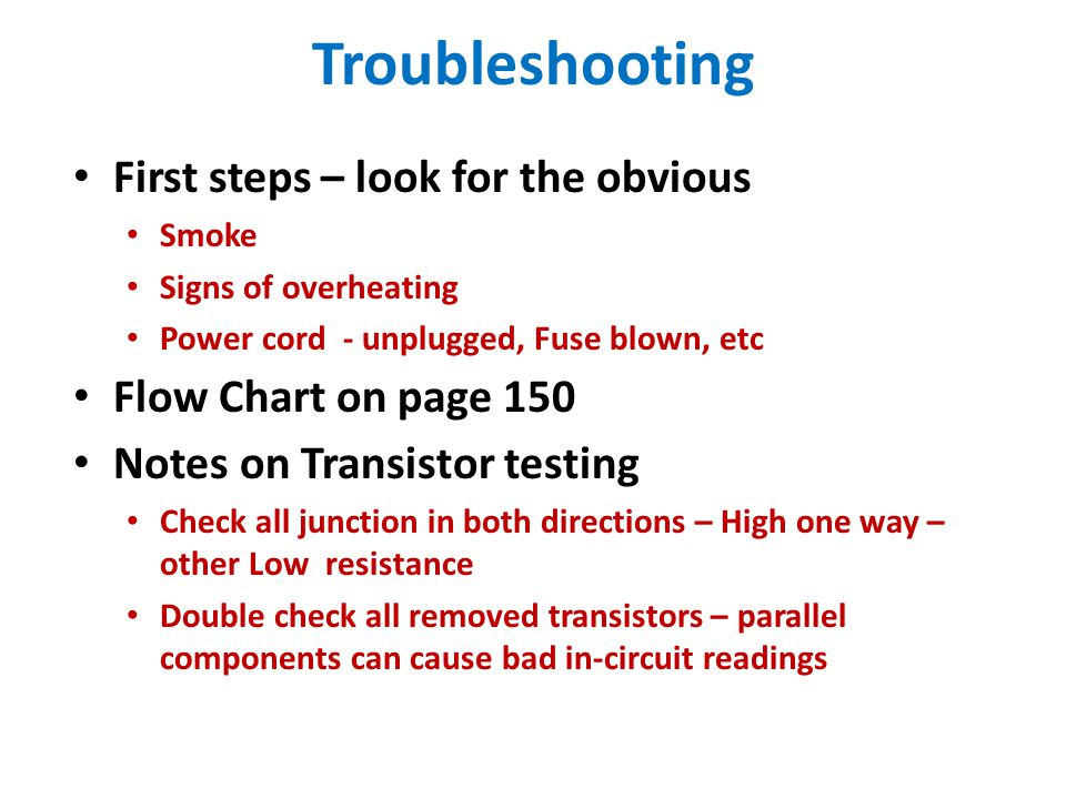 Troubleshooting First steps – look for the obvious
