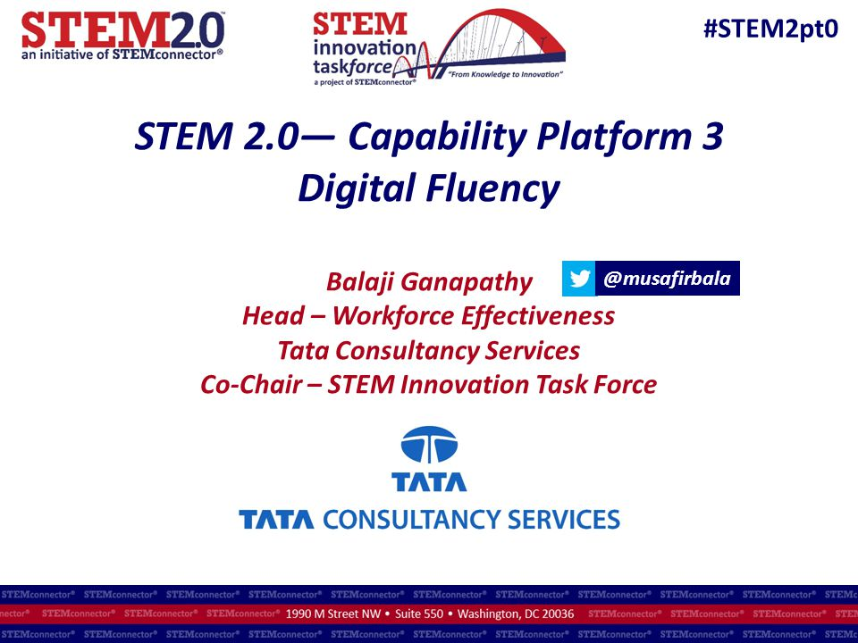 STEM 2.0— Capability Platform 3 Digital Fluency Balaji Ganapathy Head – Workforce Effectiveness Tata Consultancy Services Co-Chair – STEM Innovation Task Force