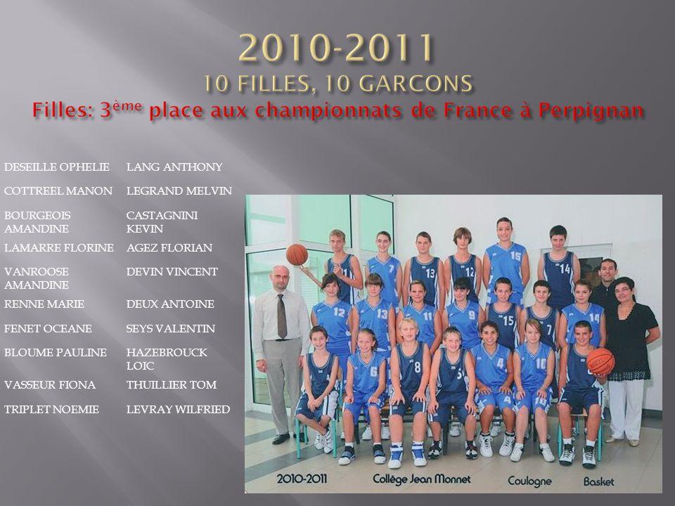 2010-2011 10 FILLES, 10 GARCONS Filles: 3ème place aux championnats de France à Perpignan