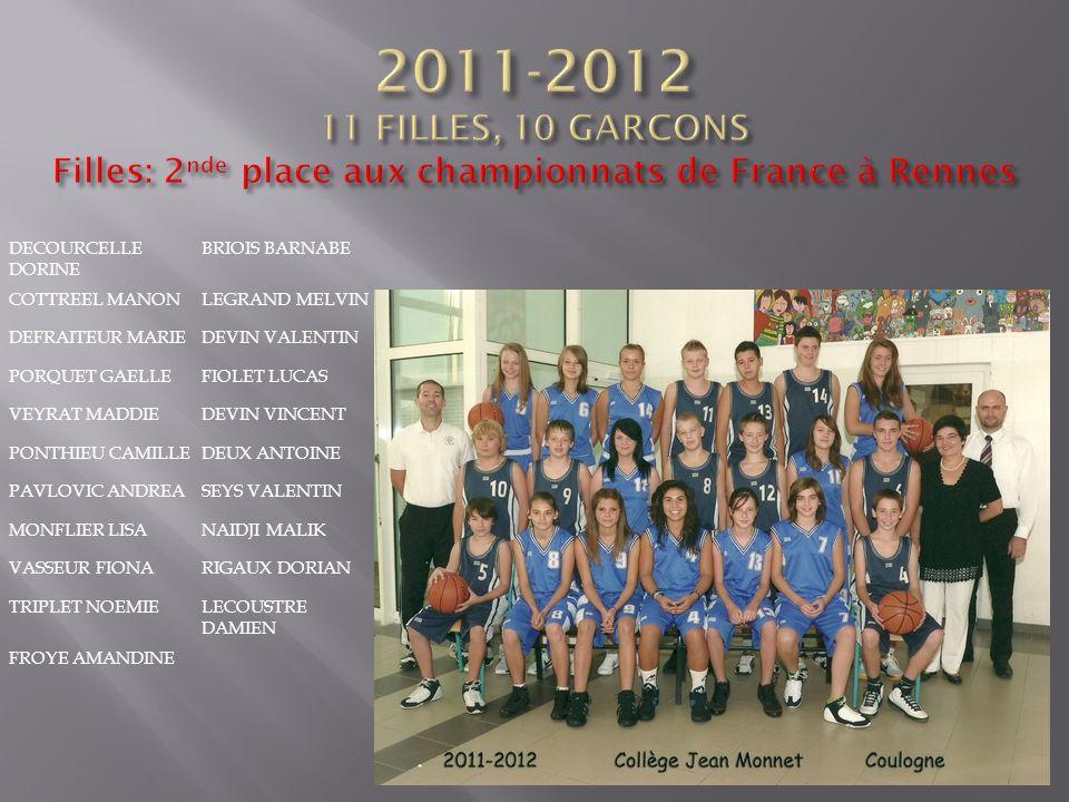 2011-2012 11 FILLES, 10 GARCONS Filles: 2nde place aux championnats de France à Rennes