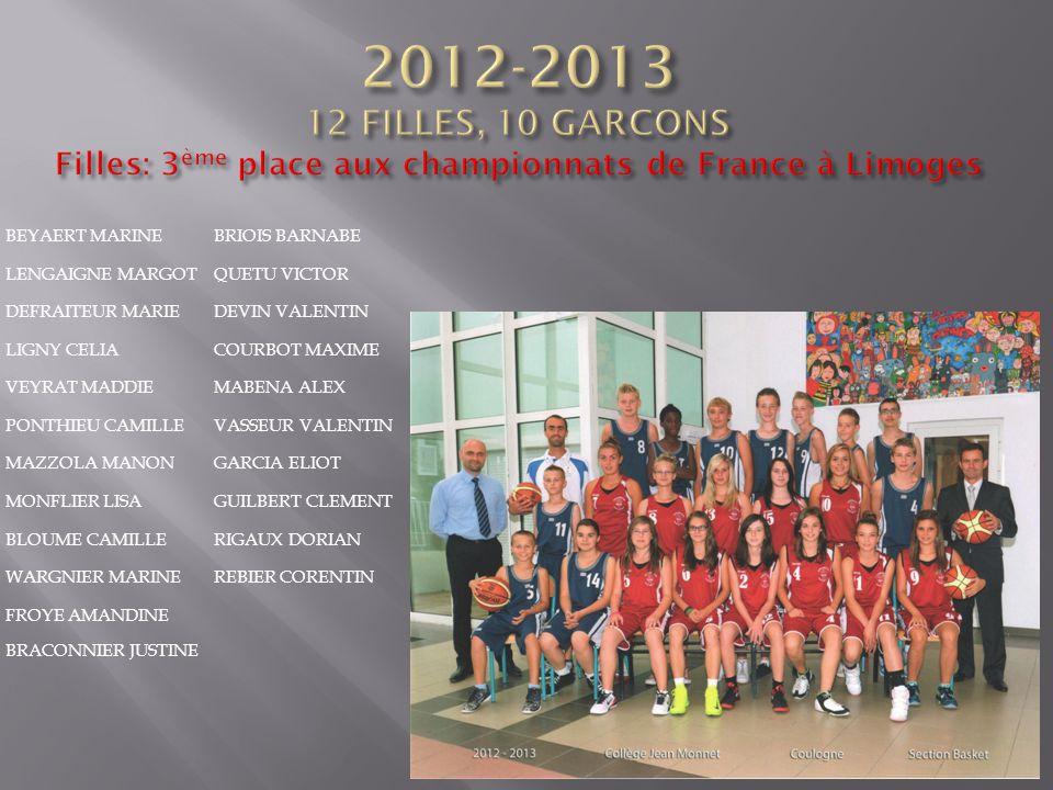 2012-2013 12 FILLES, 10 GARCONS Filles: 3ème place aux championnats de France à Limoges