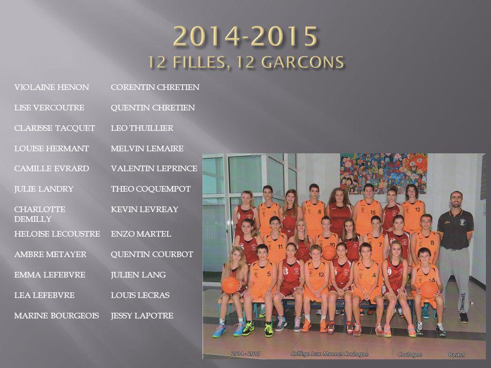 2014-2015 12 FILLES, 12 GARCONS VIOLAINE HENON CORENTIN CHRETIEN