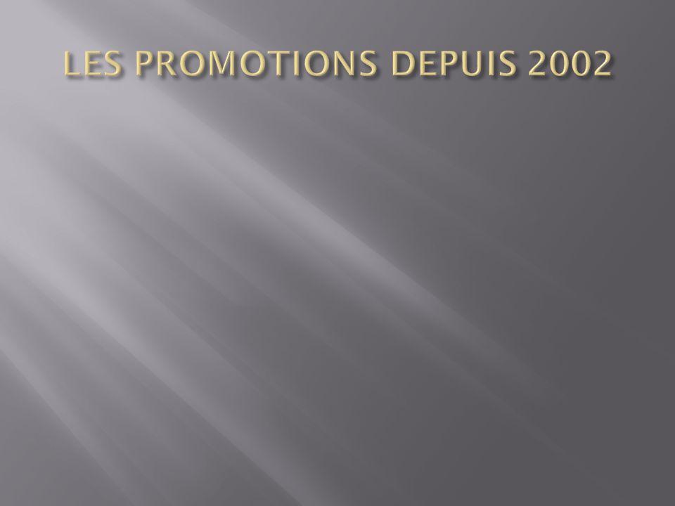 LES PROMOTIONS DEPUIS 2002
