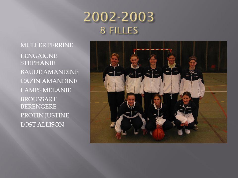 2002-2003 8 FILLES MULLER PERRINE LENGAIGNE STEPHANIE BAUDE AMANDINE