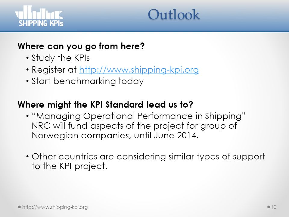 Outlook Where can you go from here Study the KPIs