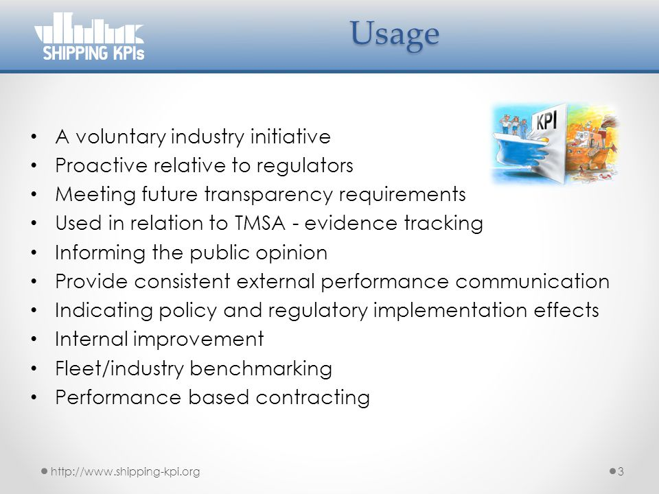 Usage A voluntary industry initiative Proactive relative to regulators