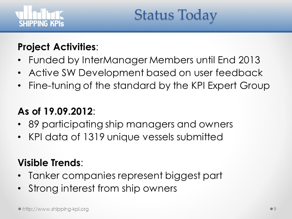 Status Today Project Activities:
