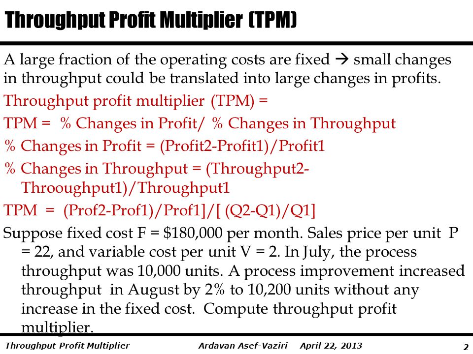 Throughput Profit Multiplier (TPM)