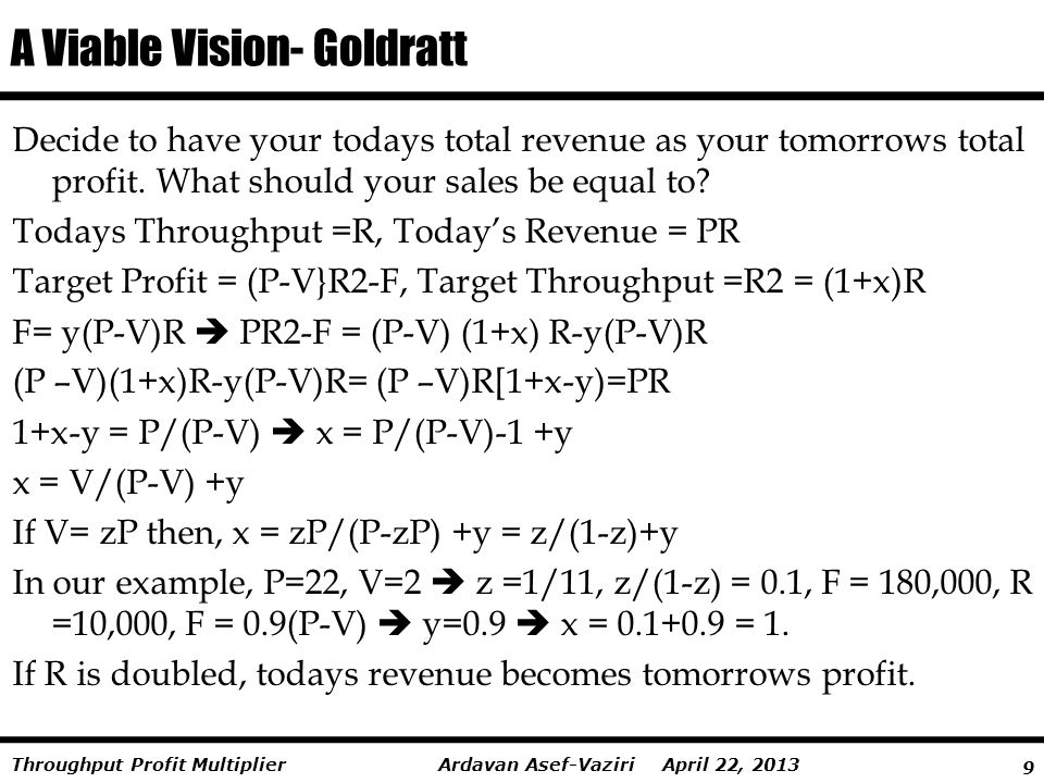 A Viable Vision- Goldratt