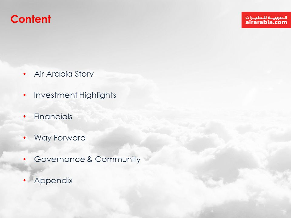 Content Air Arabia Story Investment Highlights Financials Way Forward