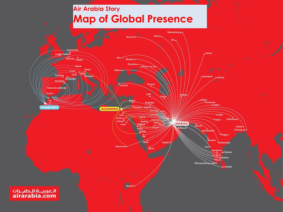 Air Arabia Story Map of Global Presence