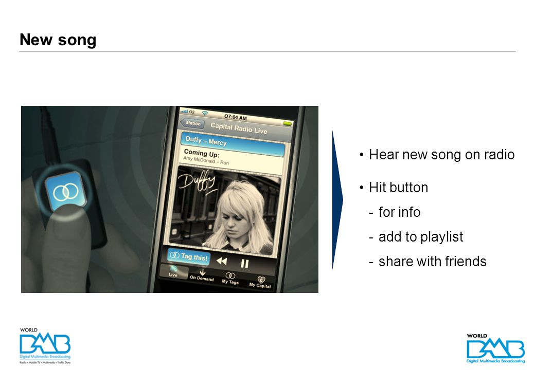 Advertising Hear ad on radio / see visual display Tag to interact