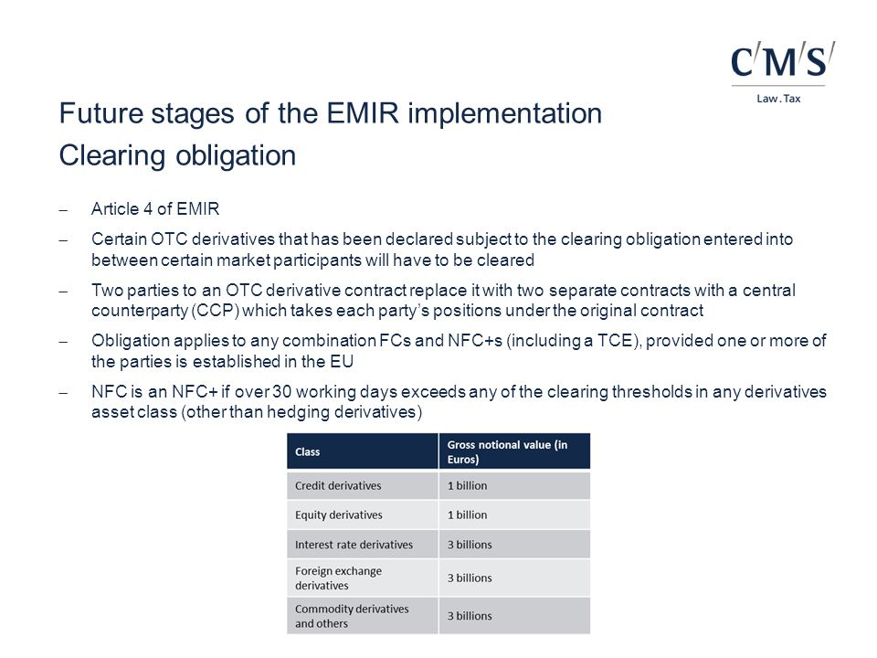 Future stages of the EMIR implementation Clearing obligation