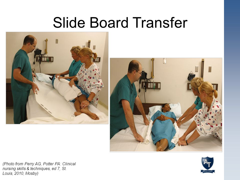Slide Board Transfer (Photo from Perry AG, Potter PA: Clinical nursing skills & techniques, ed 7, St.