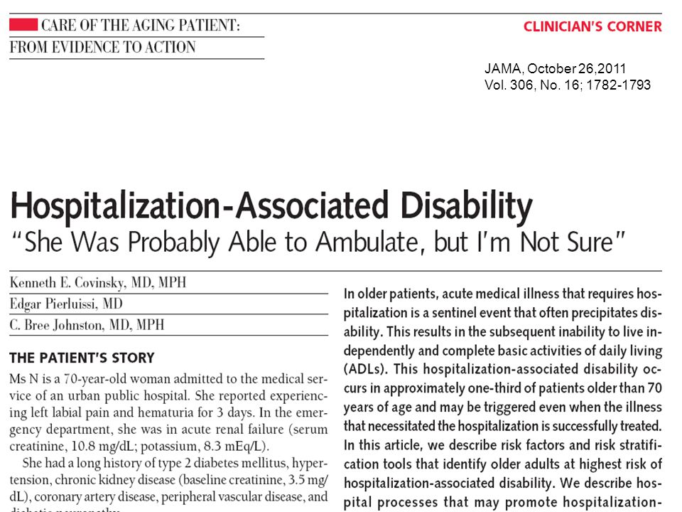 JAMA, October 26,2011 Vol. 306, No. 16;