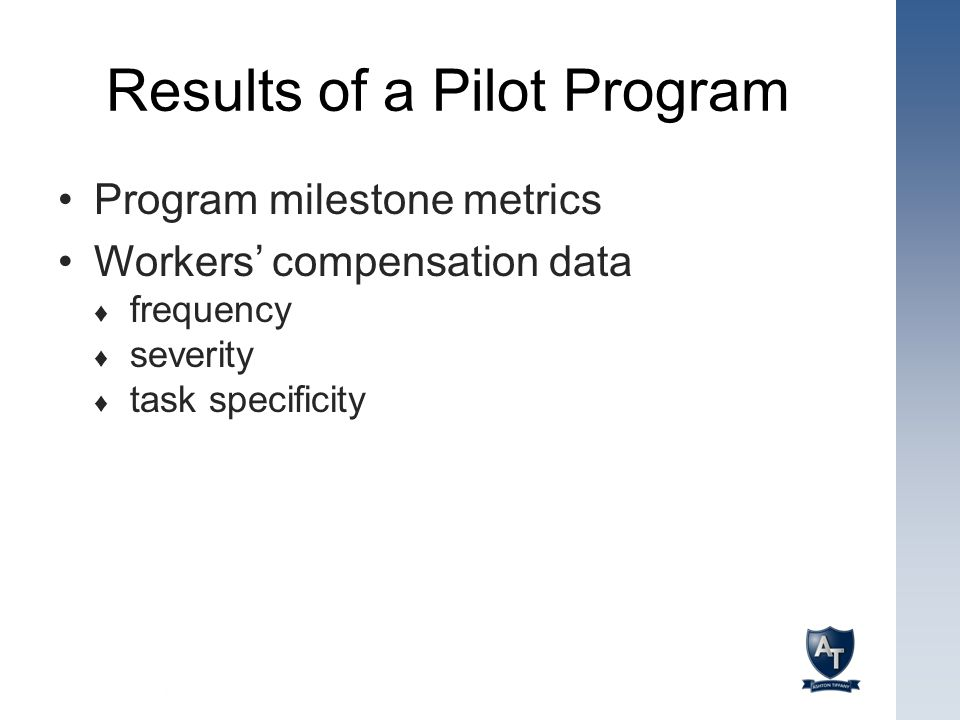Results of a Pilot Program