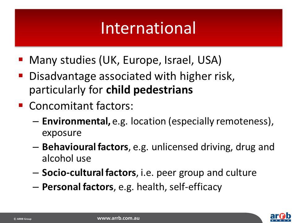 International Many studies (UK, Europe, Israel, USA)