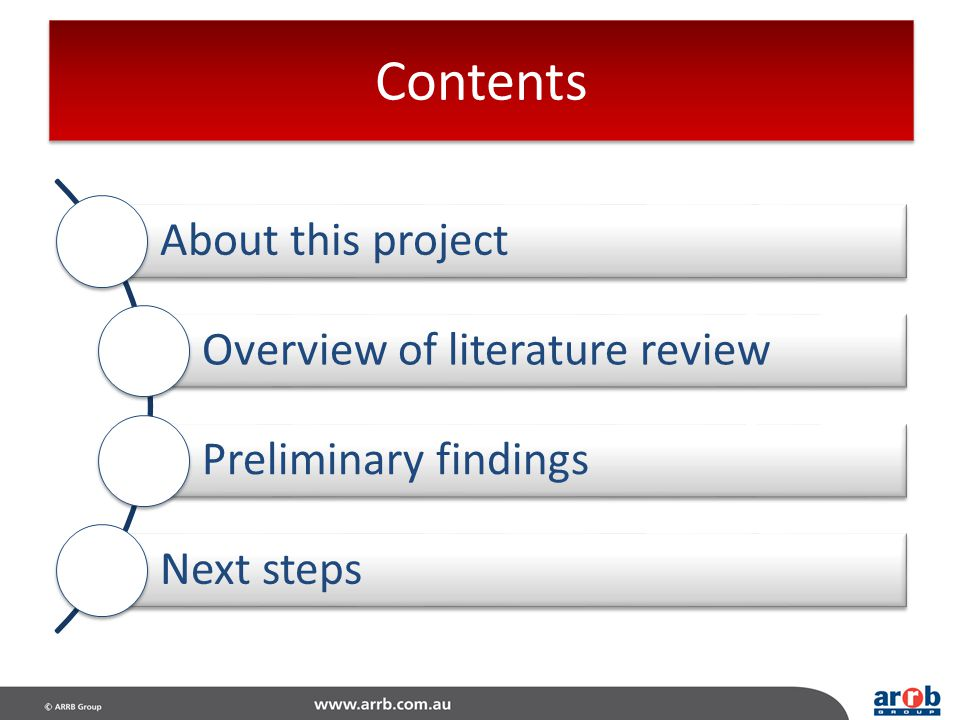 Contents About this project Overview of literature review
