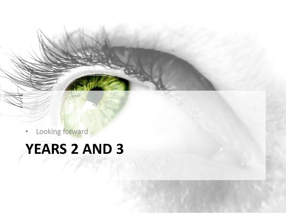 Looking forward Years 2 and 3