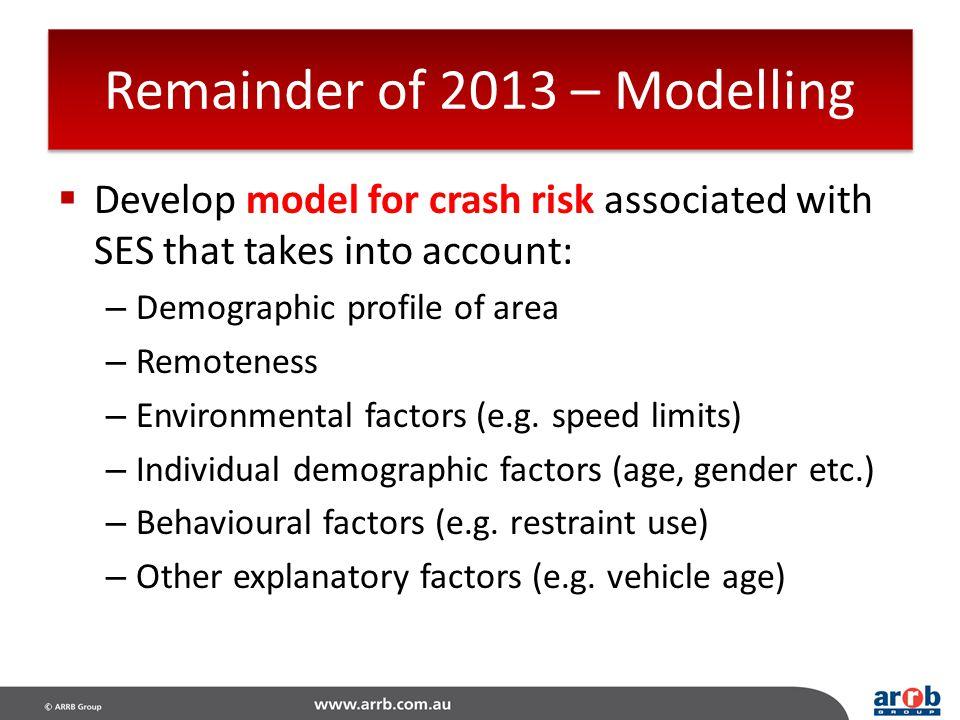 Remainder of 2013 – Modelling
