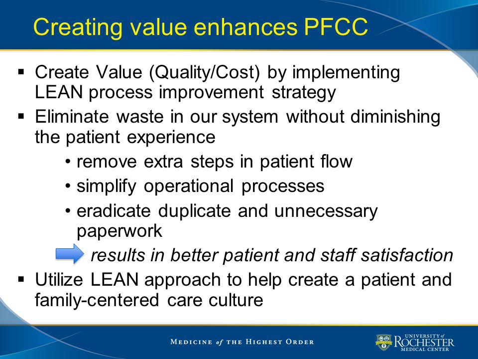 Creating value enhances PFCC