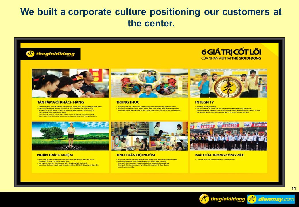 We built a corporate culture positioning our customers at the center.