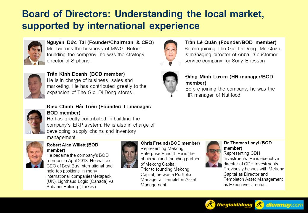 Board of Directors: Understanding the local market, supported by international experience