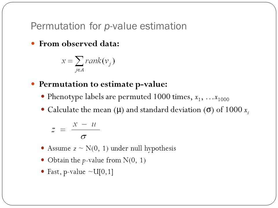 Permutation for p-value estimation