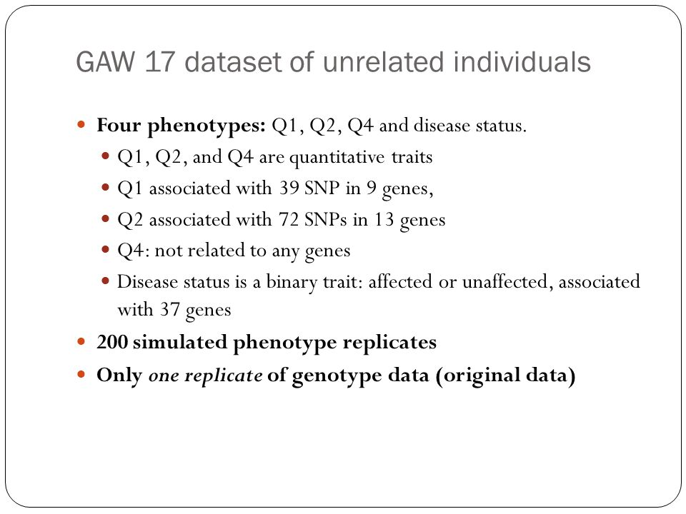 GAW 17 dataset of unrelated individuals
