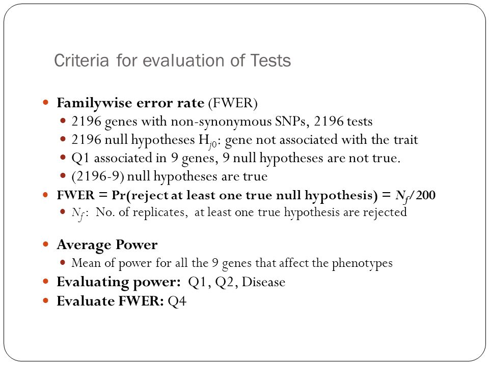 Criteria for evaluation of Tests