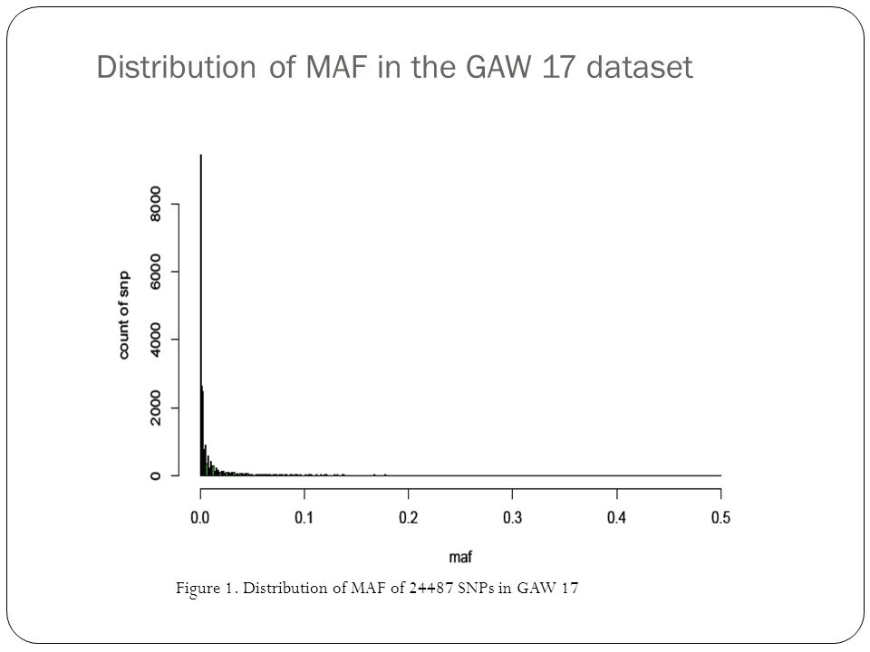 Distribution of MAF in the GAW 17 dataset