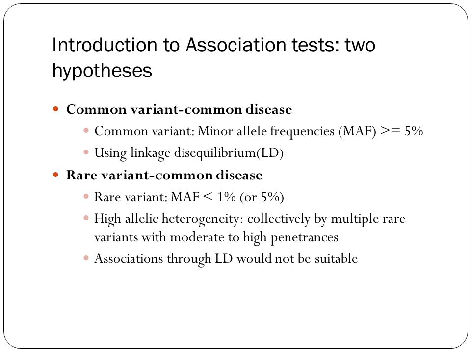 Introduction to Association tests: two hypotheses