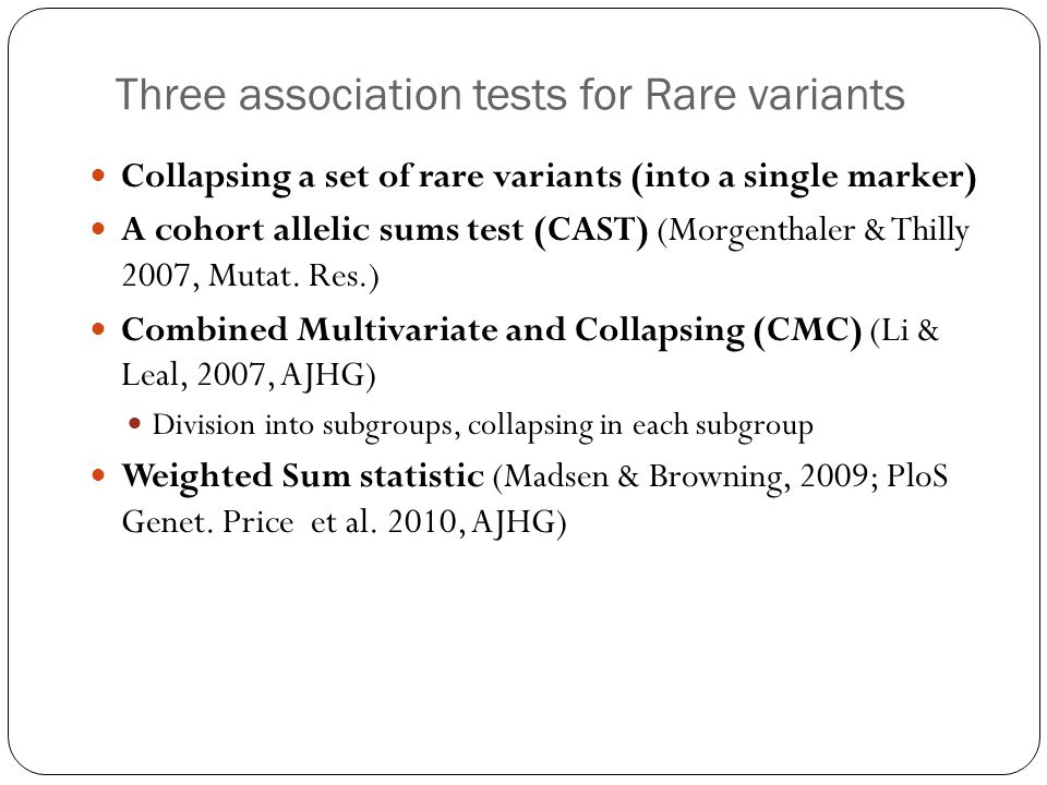 Three association tests for Rare variants