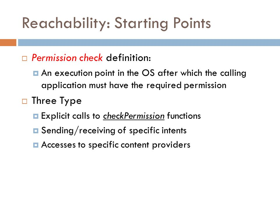 Reachability: Starting Points