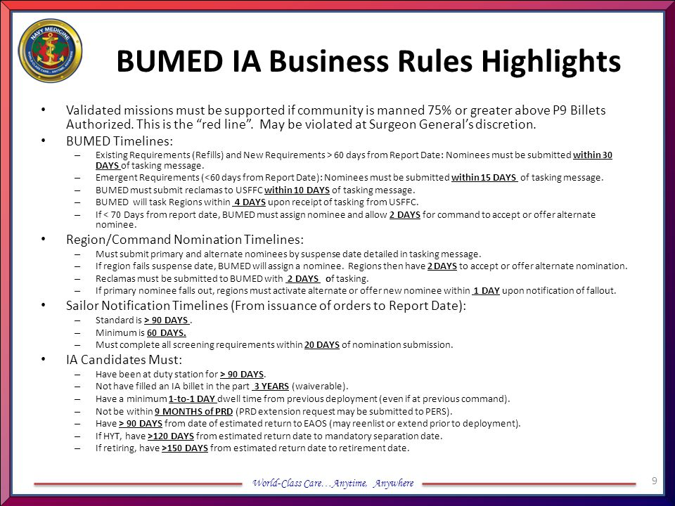 BUMED IA Business Rules Highlights