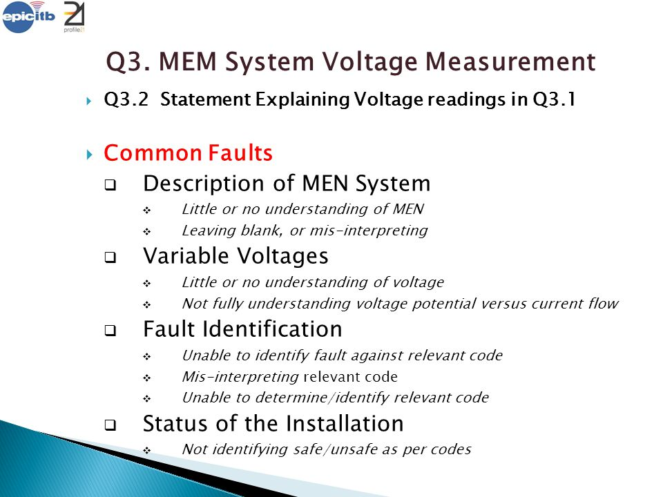 Q3. MEM System Voltage Measurement