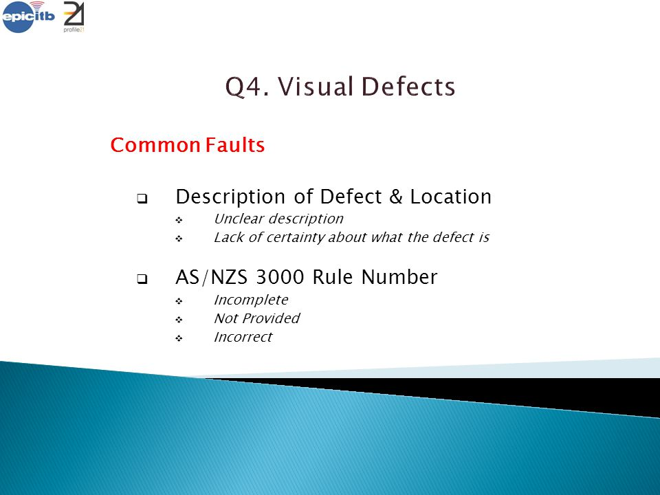 Q4. Visual Defects Common Faults Description of Defect & Location
