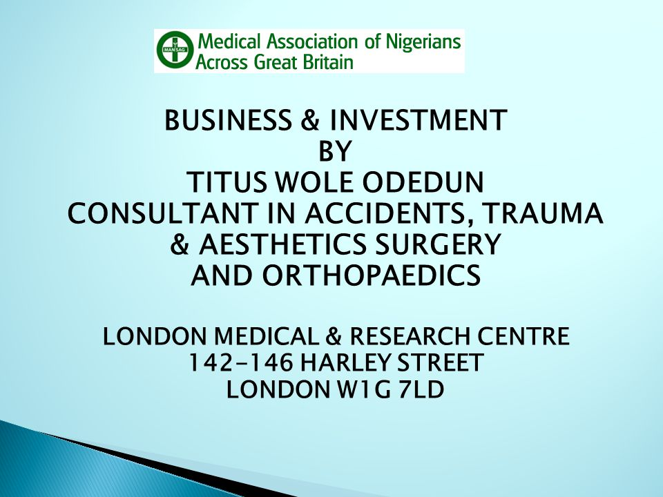 CONSULTANT IN ACCIDENTS, TRAUMA LONDON MEDICAL & RESEARCH CENTRE