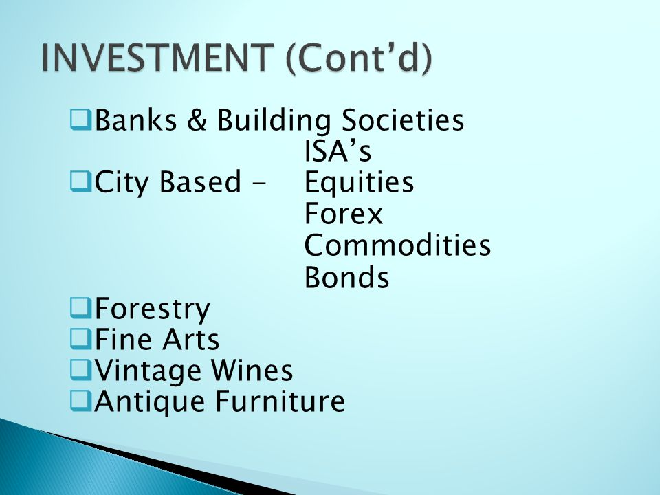 INVESTMENT (Cont'd) Banks & Building Societies ISA's