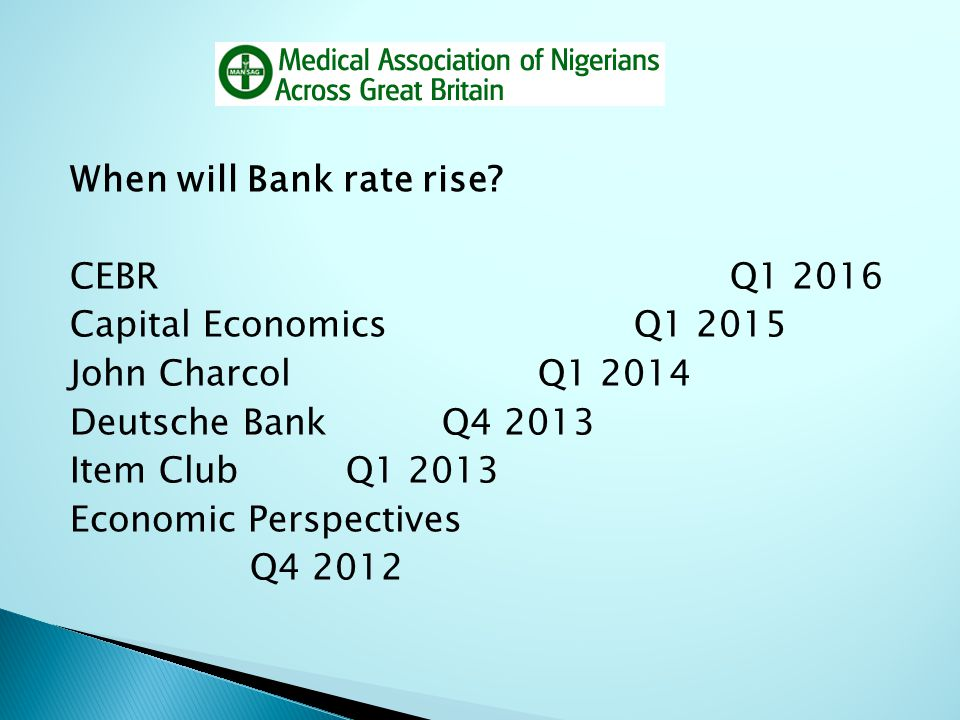 When will Bank rate rise