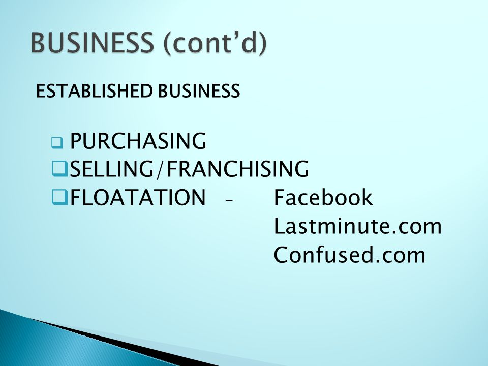 BUSINESS (cont'd) SELLING/FRANCHISING FLOATATION - Facebook